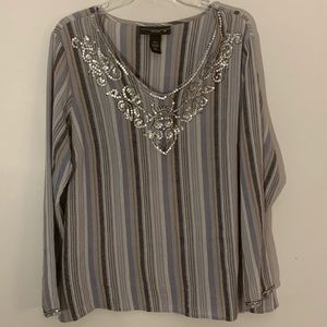 Venezia size 18/20 gray blue stripped blouse